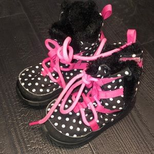 Nike 7C Toddler Boots Polka Dots Pink Black White